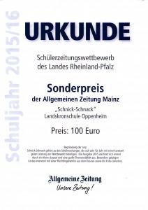 Urkunde 2015